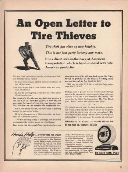 Pure Oil Dealers Stations Tire Thieves (1942)