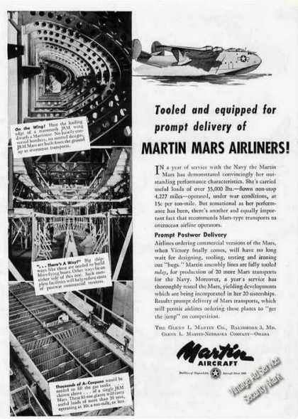 Martin Mars Airliners Baltimore Md Rare (1945)