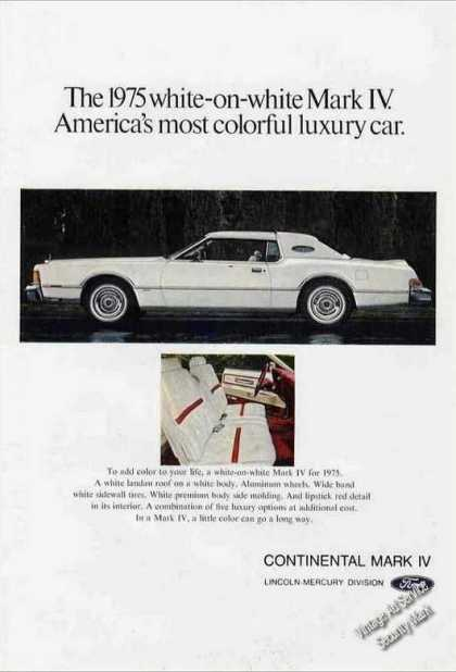 "Lincoln Continental Mark Iv ""White On White"" (1975)"