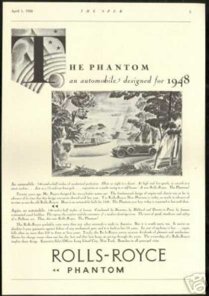 Great Rolls Royce Phantom Vintage Art (1928)