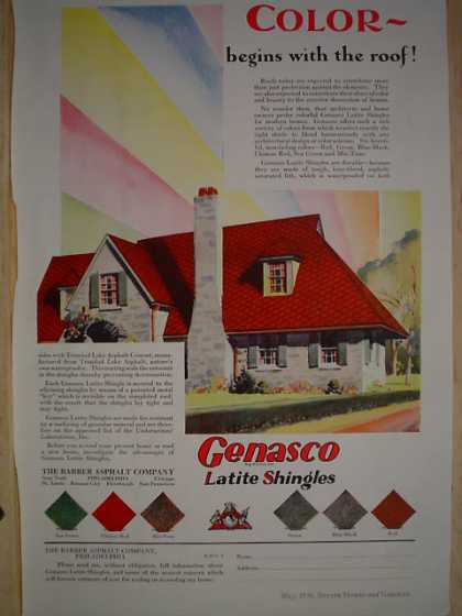 Genasco Latite Shingles Roofing Color begins with the roof (1930)