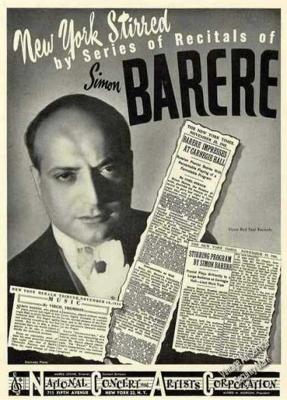 Simon Barere Photo Russian Pianist Rare Trade (1947)