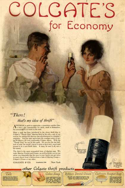 Colgate &amp; Company&#8217;s Colgate&#8217;s Shaving Lather &#8211; Colgate&#8217;s for Economy (1918)