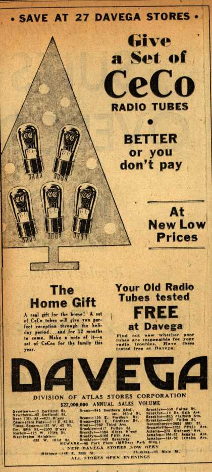 CeCo Manufacturing Company's Radio Tubes – Give a set of CeCo radio tubes (1930)