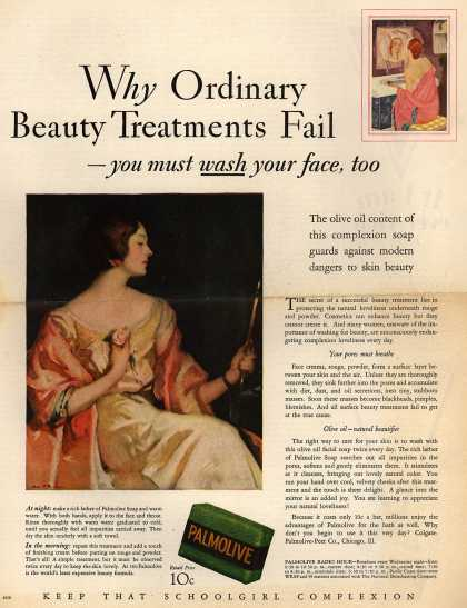 Palmolive Company's Palmolive Soap – Why Ordinary Beauty Treatments Fail-you must wash your face, too (1929)