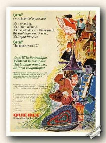 Quebec La Belle Province Travel Ad Nice Art (1967)