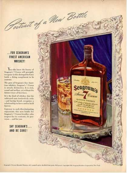 Seagrams Severn Crown Whiskey Bottle Ad T (1940)