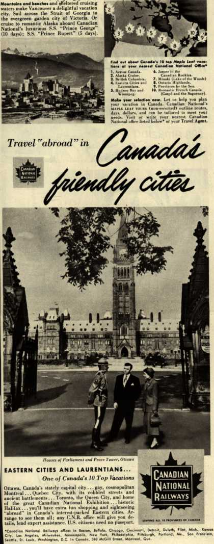 """Canadian National Railway's Canada – Travel """"abroad"""" in Canada's friendly cities (1951)"""