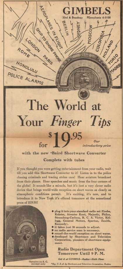 Gimbel's Baird Shortwave Converter – The World at Your Finger Tips for $19.95 (1932)