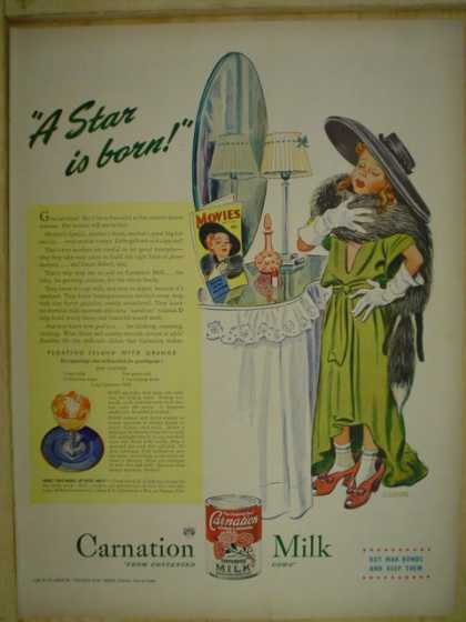 Carnation instant milk. A star is born. Little girl theme (1945)