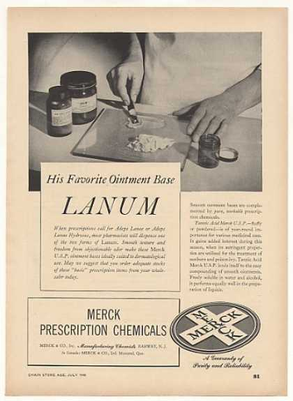 Merck Lanum Ointment Base Pharmacist Trade (1948)