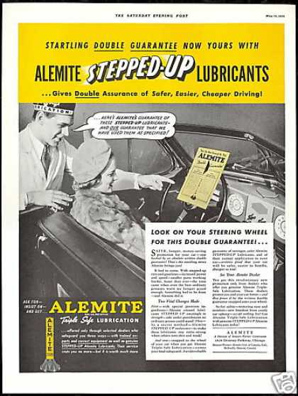 Alemite Car Lubricant Convertible Vintage Photo (1939)