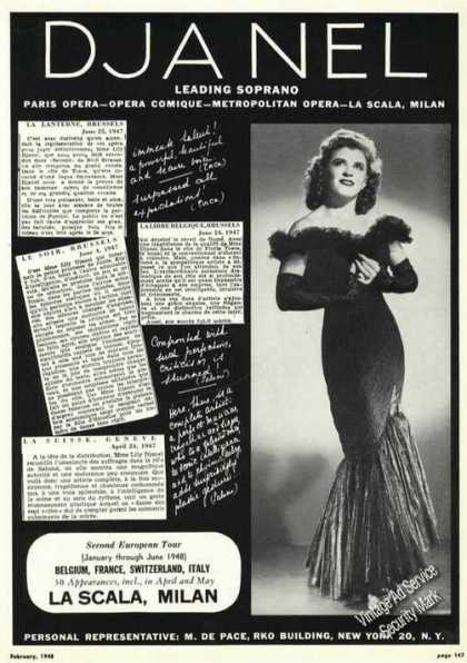 Lily Djanel Photo Opera Rare Ad Music (1948)