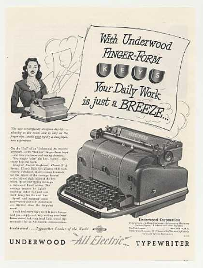 Underwood Electric Typewriter Finger-Form Keys (1949)