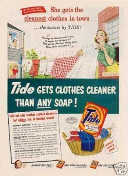 "Tide Soap Detergent Ad ""She Gets the Cleanest... (1952)"