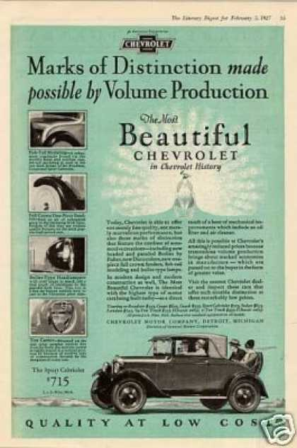 "Chevrolet Sport Cabriolet Car Ad ""Marks Of... (1927)"