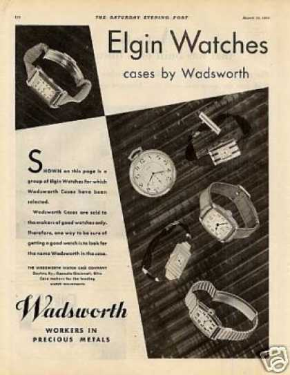 Wadsworth Watch Cases Ad Elgin Watches (1930)