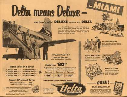 Delta Air Lines Incorporated's Delta Air Lines – Delta Means Deluxe – and Here's What Deluxe Means on Delta (1953)