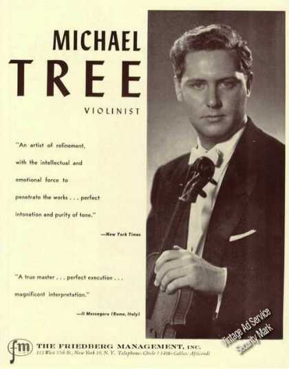 Michael Tree Photo Violin Rare Ad Music (1959)