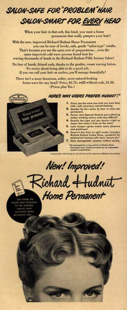 "Richard Hudnut – Salon-Safe For ""Problem"" Hair Salon-Smart For Every Head (1949)"