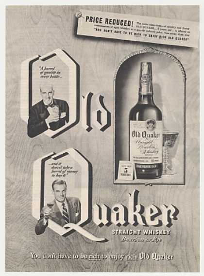 Old Quaker Whiskey Price Reduced (1950)