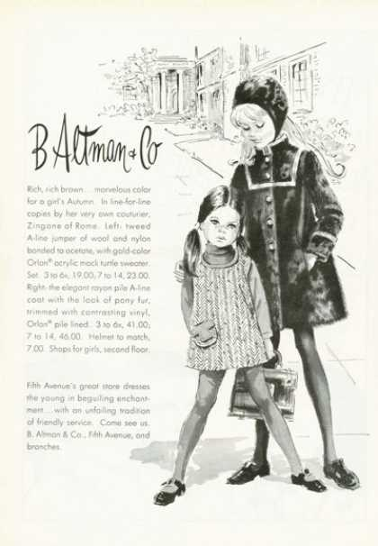 B Altman Fifth Av Young Girl Fashion Clothes (1968)