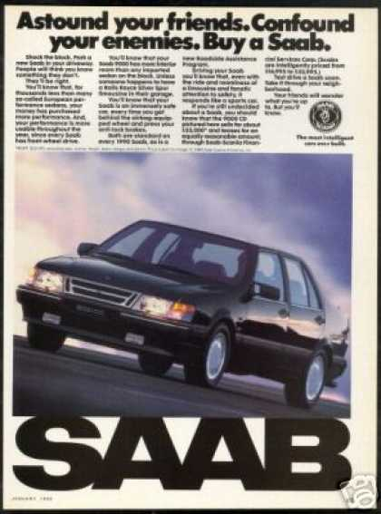 Saab 9000 4 Dr Black Car Vintage Photo (1990)