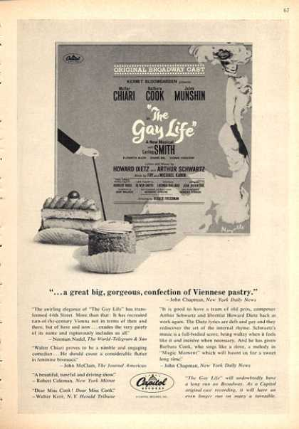 Capitol Records Ad 'the Gay Life' Musical (1962)