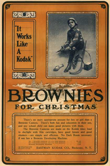 "Kodak's Brownie cameras – ""It Works Like A Kodak."" Brownies For Christmas (1903)"