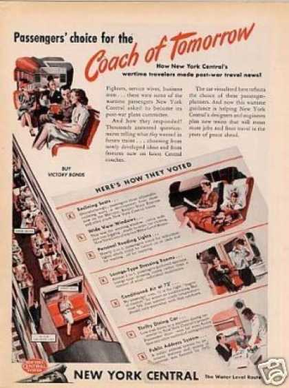 "New York Central Railroad Ad ""Coach for Tomorrow.. (1945)"