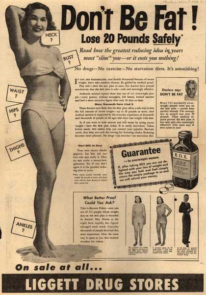 Lo-Calory Food Corporation's R.D.X. – Don't Be Fat! Lose 20 Pounds Safely (1949)