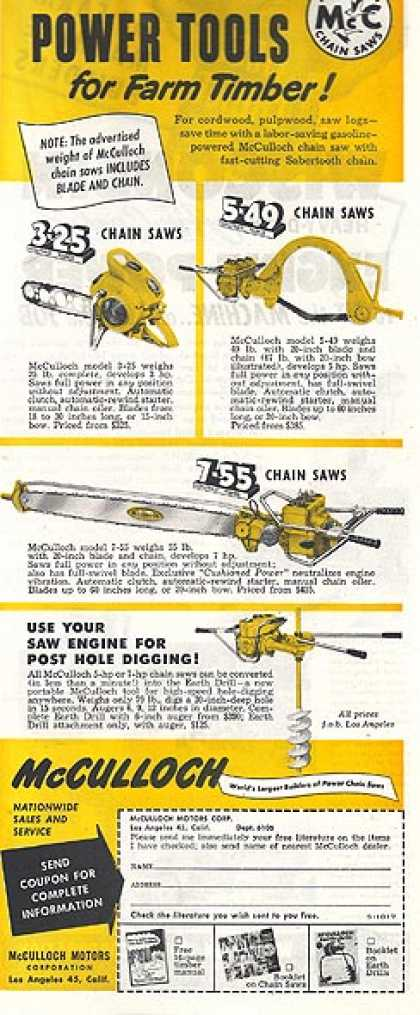 "McCulloch's ""Light-Weight Power Tools for Farm Timber!"" (1952)"