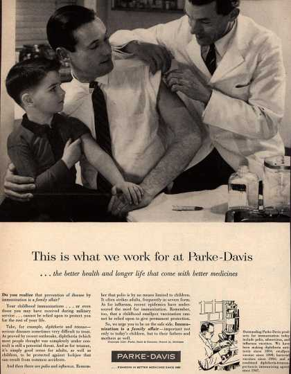 Parke, Davis & Company's Shots and vaccinations – This is what we work for at Parke-Davis (1958)