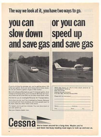 Cessna Skyhawk Airplane Aircraft Save Gas (1973)