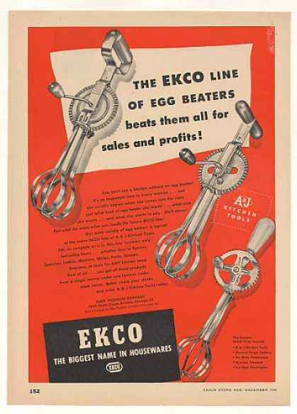 Ekco Egg Beaters 3 Styles (1946)