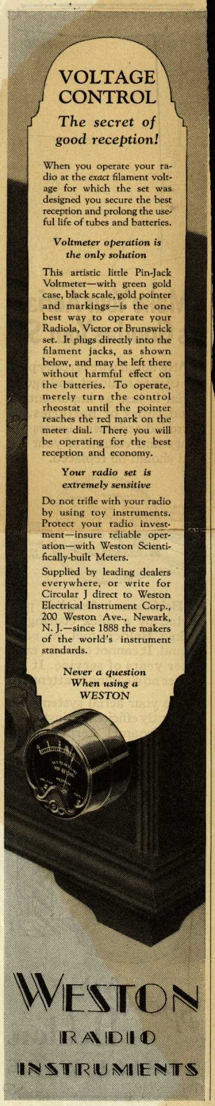 Weston Electrical Instrument Corp.'s Pin-Jack Voltmeter – Voltage Control: the secret of good reception (1927)