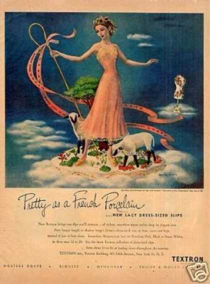"Textron Slip Ad ""Pretty As a French... (1948)"