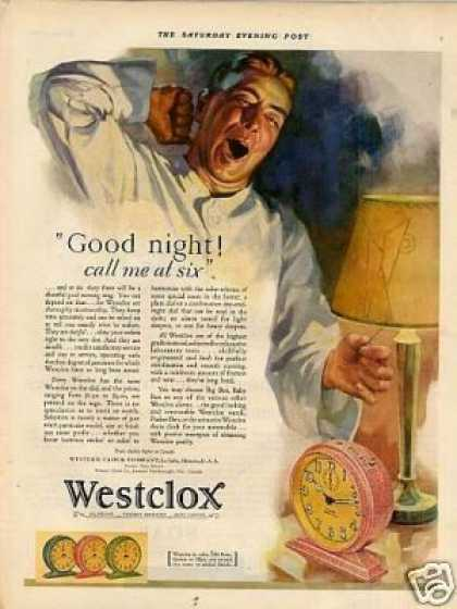 "Westclox Alarm Clock Color Ad ""Good Night... (1929)"