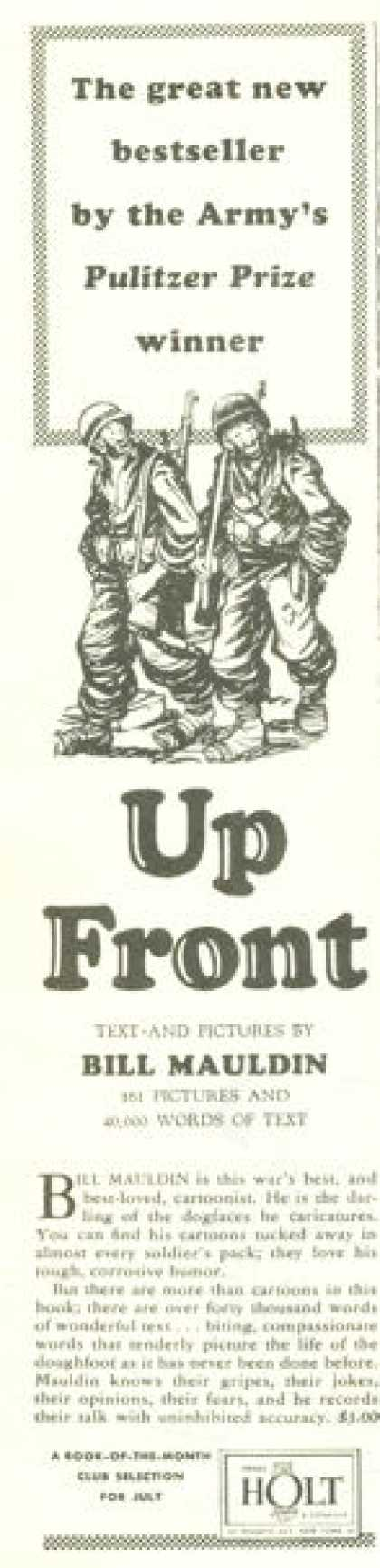 Bill Mauldin 'up Front' Wwii Cartoonist (1945)