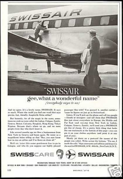 Swissair Airlines Plane Wonderful Name (1959)