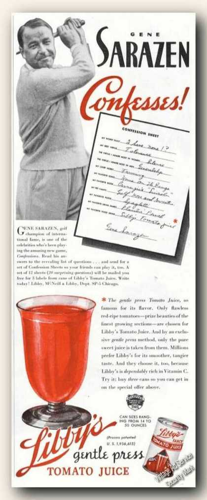 Gene Sarazen Golf Photo Libby's Tomato Juice (1937)