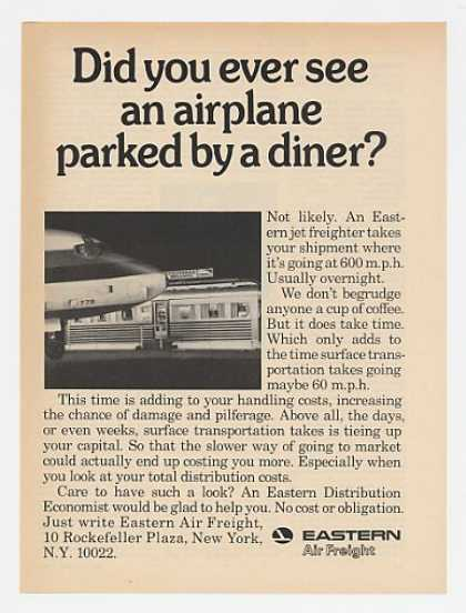 Eastern Air Freight Jet Airplane Parked Diner (1969)