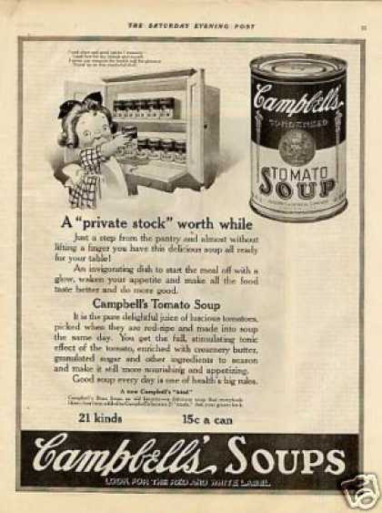 "Campbell's Tomato Soup Ad ""A Private Stock... (1921)"