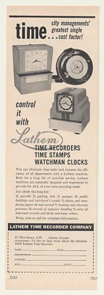 Lathem Time Recorder Stamp Clocks (1960)
