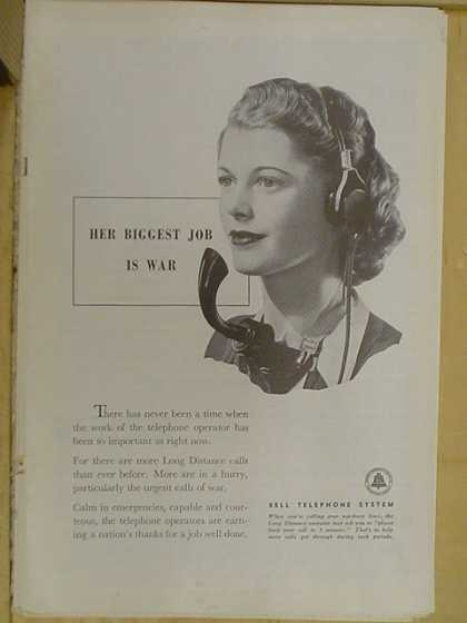 Bell Telephone System Her biggest job is war (1941)
