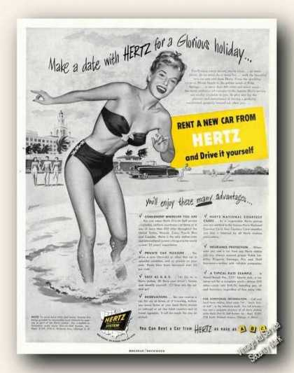 Hertz Rent a Car Bathing Beaury Art Antique (1949)
