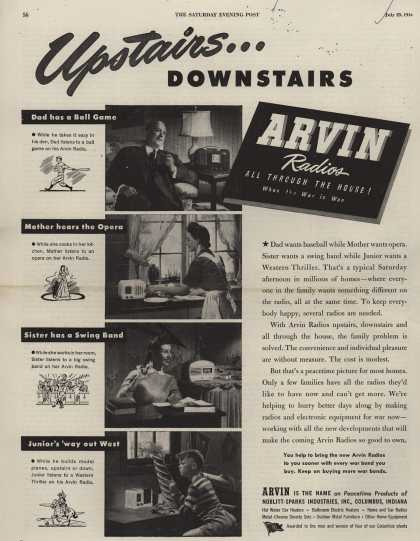 Noblitt-Sparks Industrie's Various – Upstairs... Downstairs. Arvin Radios All Through the House! When the War is Won (1944)