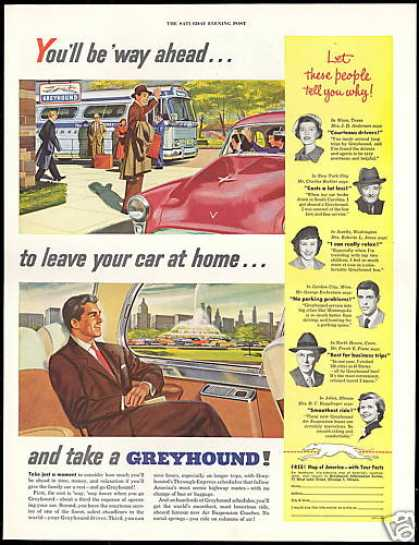 Greyhound Bus Travel Leave Car At Home (1954)