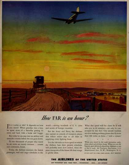 The Airlines of the United State's Air Travel – How Far is an hour? (1943)