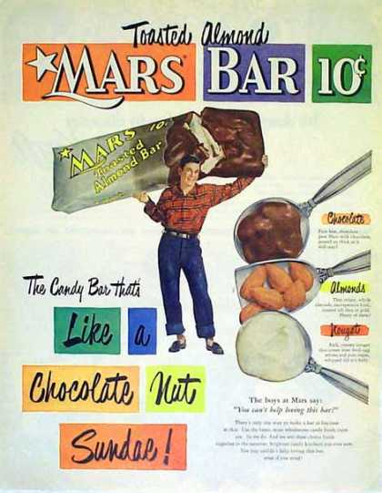 Mars Candy Bar – Mars Toasted Almond Bar (1951)